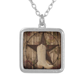 Chic barn wood Texas Star Western country cowgirl Silver Plated Necklace