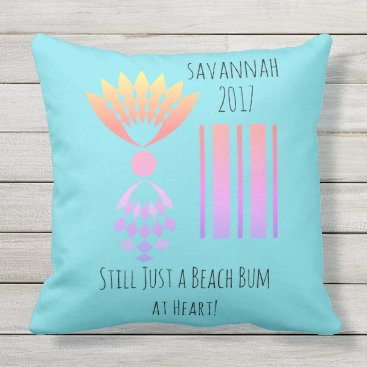 Beach Themed CHIC BEACH BUM_MOD TROPICAL PASTEL PINEAPPLE OUTDOOR PILLOW