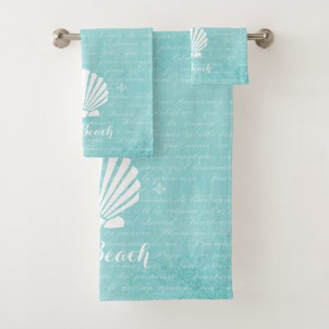 Beach Themed Chic Beach Girly Aqua Scallop Shell With Name Bath Towel Set