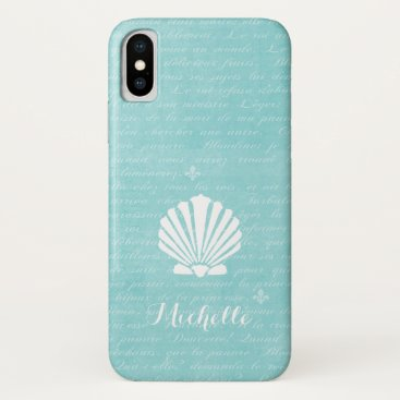Beach Themed Chic Beach Girly Aqua Scallop Shell With Name iPhone X Case