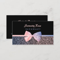 Chic Beautician Pink Blue Leopard Print With Bow Business Card