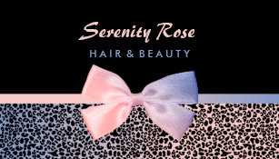 Bow business cards templates zazzle chic beautician pink blue leopard print with bow business card colourmoves