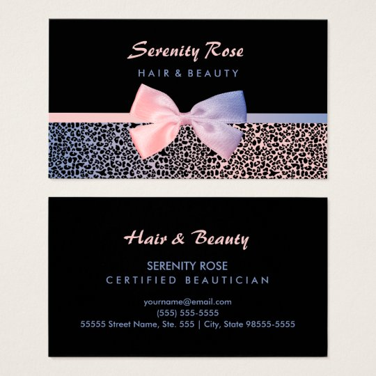 Chic beautician pink blue leopard print with bow business card chic beautician pink blue leopard print with bow business card reheart Gallery