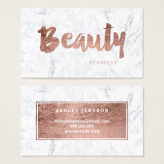 Chic beauty modern rose gold typography marble business card at Zazzle