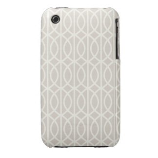 Chic Beige and White Moroccan Trellis Pattern Case-Mate iPhone 3 Case