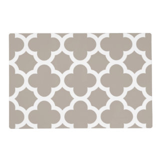 Chic Beige Gray Retro Cute Trellis Pattern Placemat