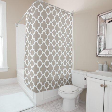 Chic Beige Gray Retro Cute Trellis Pattern Shower Curtain