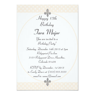 Chic Beige Polka Dots Birthday Party Invitation