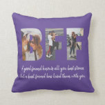 "Chic BFF Photo Collage Best Friend Besties Purple Throw Pillow<br><div class=""desc"">Modern BFF Photo Collage Best Friend Besties Quote Throw Pillow in Purple Violet Best friends are the sisters that life gives us! A tribute to the bond only best friends understand, this print features 3 of your favorite photos of you and your BFF. You can easily customize the photo, quote...</div>"