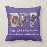 Chic BFF Photo Collage Best Friend Besties Purple Throw Pillow
