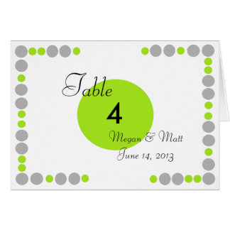 Chic Bird Silhouette Dots Table Number in Lime Greeting Cards