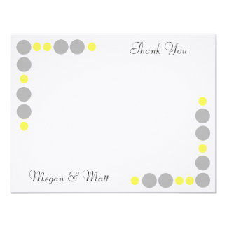 """Chic Bird Silhouette & Dots Thank You Card-Yellow 4.25"""" X 5.5"""" Invitation Card"""