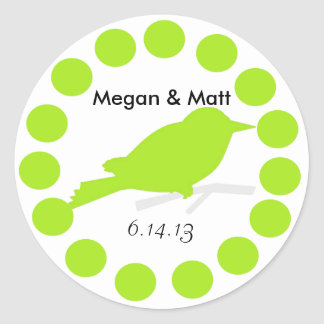 Chic Bird Silhouette & Dots Wedding Seal in Lime Round Stickers