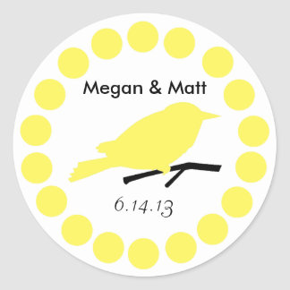Chic Bird Silhouette & Dots Wedding Seal in Yellow Sticker