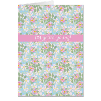 Chic Birthday Card to Personalize Dogroses on Blue Greeting Cards