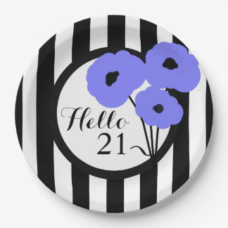 CHIC BIRTHDAY PAPE PLATE _MOD PERIWINKLE POPPIES