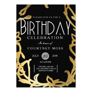 Chic Birthday Party | Gold Floral Card