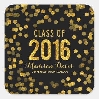 Chic Black and Gold Glitter Graduation Square Sticker
