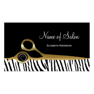 Chic Black and Gold Hair Salon White Tiger Stripes Business Card
