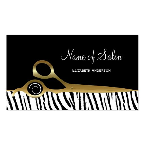 Chic Black and Gold Hair Salon White Tiger Stripes Business Cards