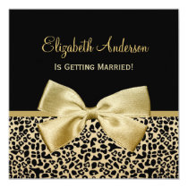 Chic Black and Gold Leopard Print Bridal Shower Card