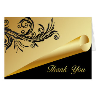 Chic Black and Gold Thank You Card