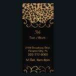"""Chic Black and Jaguar Print Business Rack Card<br><div class=""""desc"""">Stylish chic business rack card done in black, with graphics of a brown and black spotted jaguar pattern, on the top, with a elegant gold tone flourish on the edge. Golden brown text, on the front is ready to personalize to your needs. The back is done in cream, with custom...</div>"""