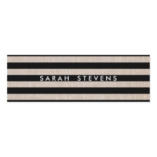 Chic Black and Linen Striped Modern Salon & Spa Double-Sided Mini Business Cards (Pack Of 20)