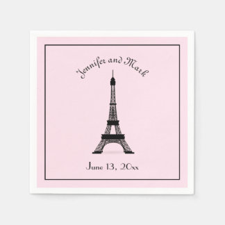 Chic Black and Pink French Eiffel Tower Wedding Napkin