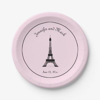 Chic Black and Pink French Eiffel Tower Wedding Paper Plate