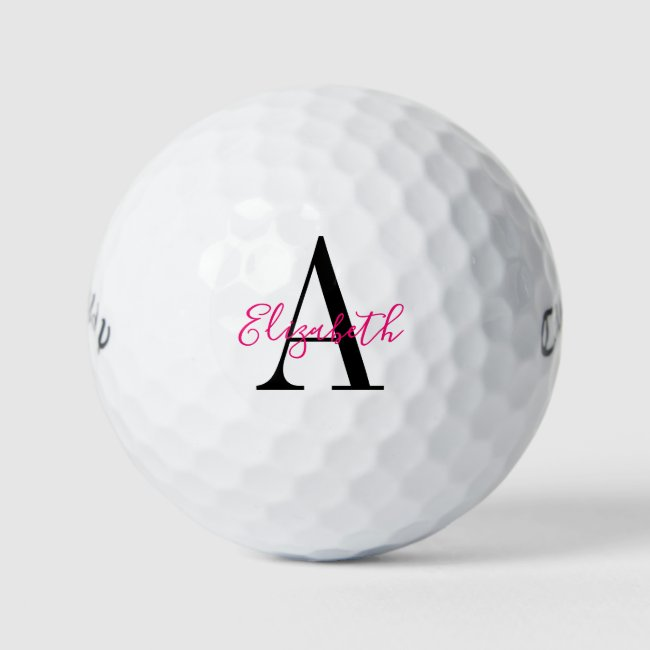 Chic Black and Pink Monogrammed and Personalized Golf Balls