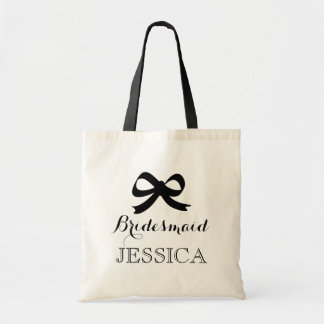Chic black and white bridesmaid tote bags with bow