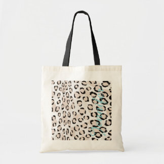 Chic black and white cheetah print monogram tote bag