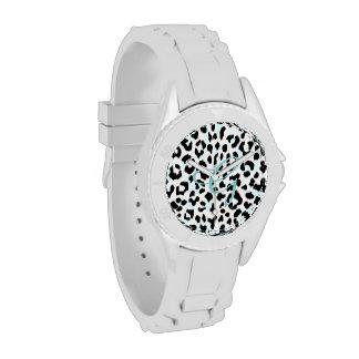 Chic black and white cheetah print monogram wristwatches