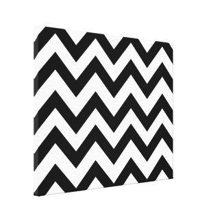 Chic black-and-white chevron canvas print