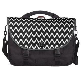 Chic Black and White Chevron Stripes Computer Bag