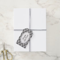 Chic Black and White Damask Business Product Tags