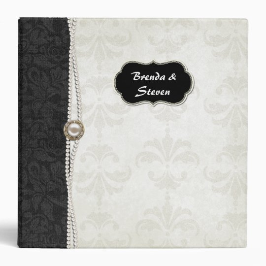 Chic Black and White Damask Wedding Album Binder
