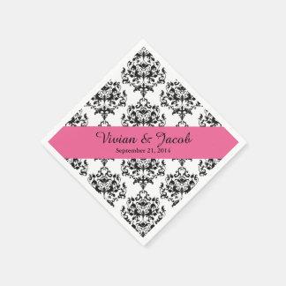 Chic Black and White Damask Wedding Napkin Paper Napkins