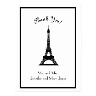 Chic Black and White Eiffel Tower Thank You Postcard