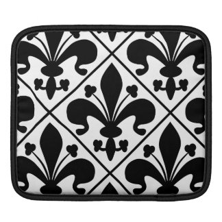 Chic Black and White Fleur de Lis Sleeve For iPads