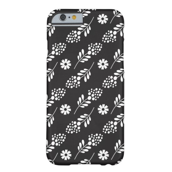 Chic Black And White Floral Pattern Barely There iPhone 6 Case