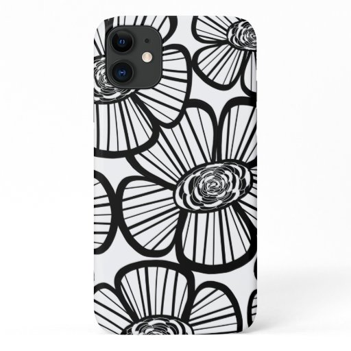 Chic Black and White Flower Pattern iPhone 11 Case
