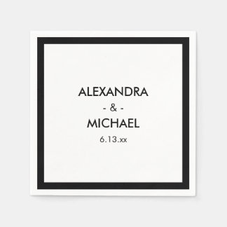 Chic Black and White French Inspired Wedding Paper Napkin