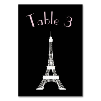 Chic Black and White French Style Eiffel Tower Table Card