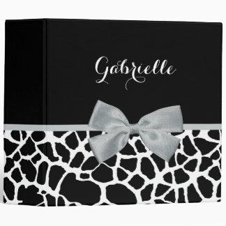 Chic Black and White Giraffe Print Silver Gray Bow Vinyl Binder