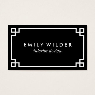 Chic Black and White Greek Key Business Card