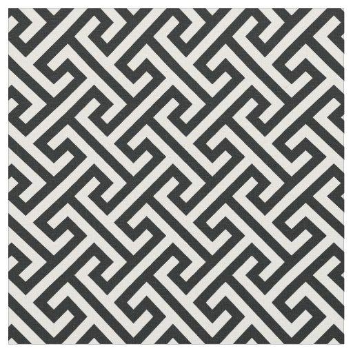 Chic Black And White Greek Key Geometric Pattern Fabric