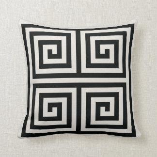 Chic black and white greek key geometric patterns throw pillow