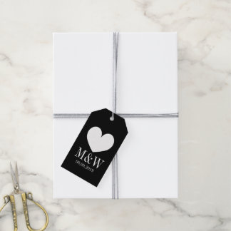 Chic black and white heart wedding favor gift tag